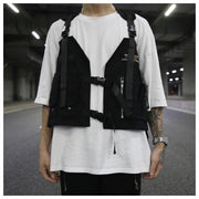 Hip Hop Sleeveless Vests Men Cargo Waistcoat with Pocket