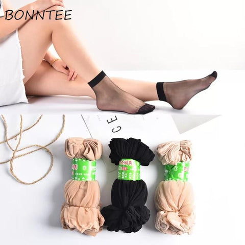 Socks Women Soft Simple Solid Sexy Breathable