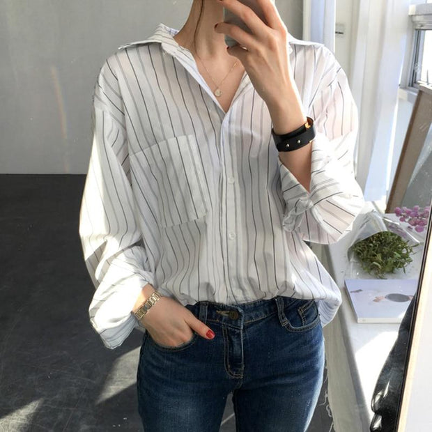 Vertical striped Shirt for Woman - shine