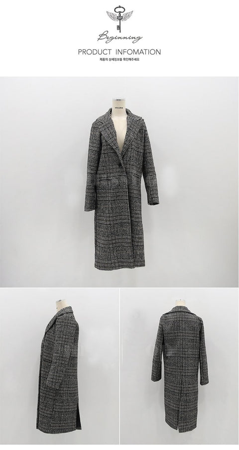 2018 Autumn Women's Wool  Plaid Coat