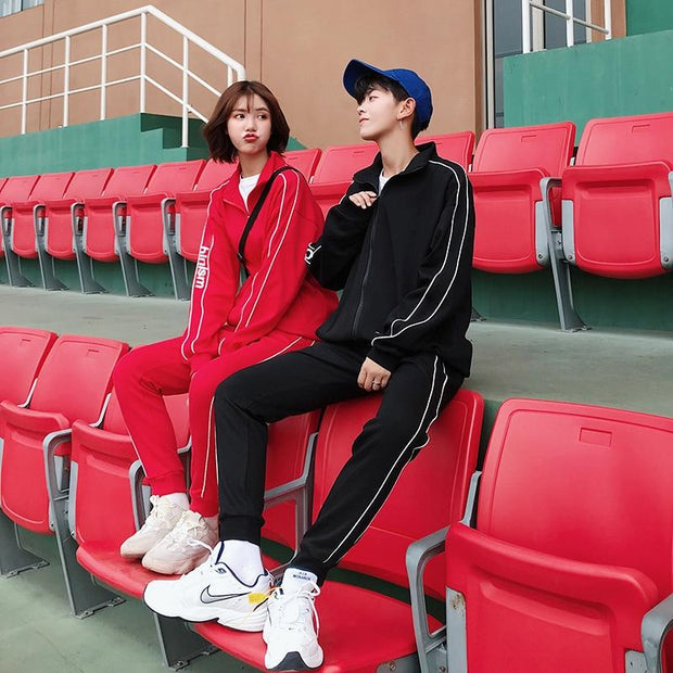 Men Women Side two line Casual Tracksuits Sets - shine