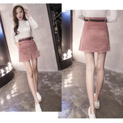 Winter skirt Casual Black Pink Mini A-Line skirt - shine