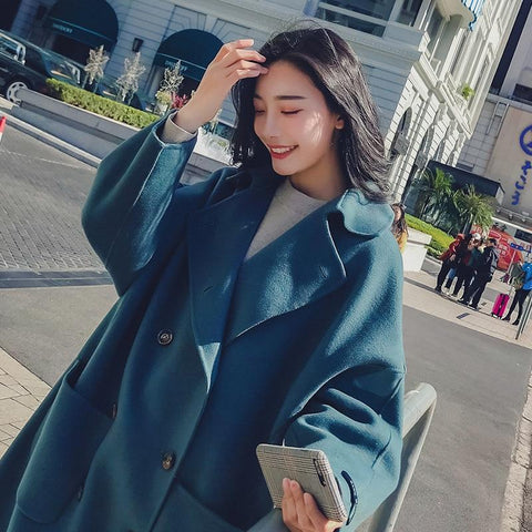 Loose Long Solid Color Winter  Woolen Coat - shine