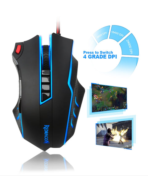 USB wired RGB Gaming Mouse 24000DPI 10 buttons laser programmable game mouse