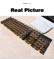 Gaming Keyboard Retro Round Glowing Backlit USB Wired Waterproof