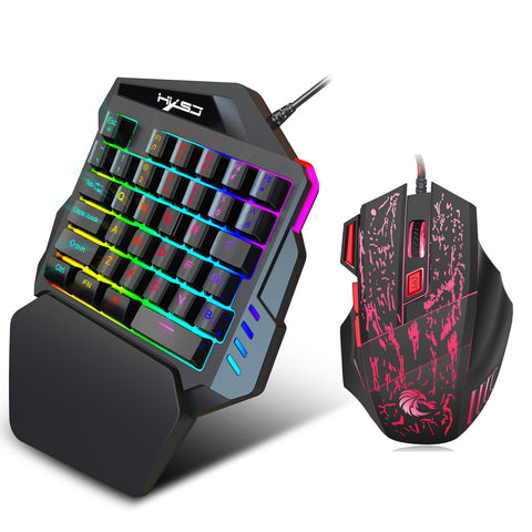 Mouse and KeyboardErgonomic Multicolor Backlight One-Handed Game Keyboard Mouse Set