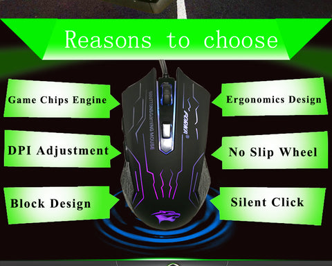 Silent Click USB Wired Gaming Mouse 6 Buttons 3200DPI