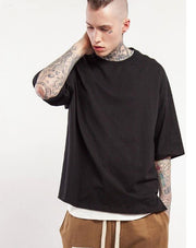 New Style Unisex Casual Solid Elbow Length Crew Neck Cotton Oversized T-shirts - shine
