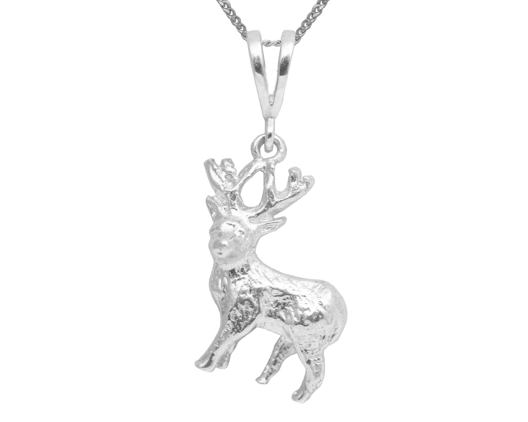 BJC® Sterling Silver Deer Stag Nature Pendant & Sterling Silver Trace Necklace
