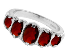 Load image into Gallery viewer, BJC® 9ct White Gold Victorian / Gypsy Style Graduating Garnet 5 Stone Ring