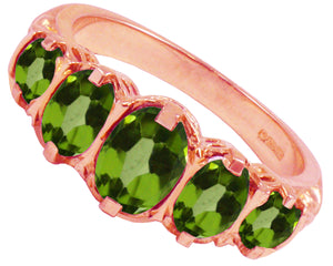 BJC® 9ct Rose Gold Victorian / Gypsy Style Graduating Peridot 5 Stone Ring