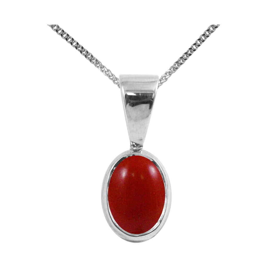 BJC® Sterling Silver Red Coral Single Drop Oval Pendant & Necklace