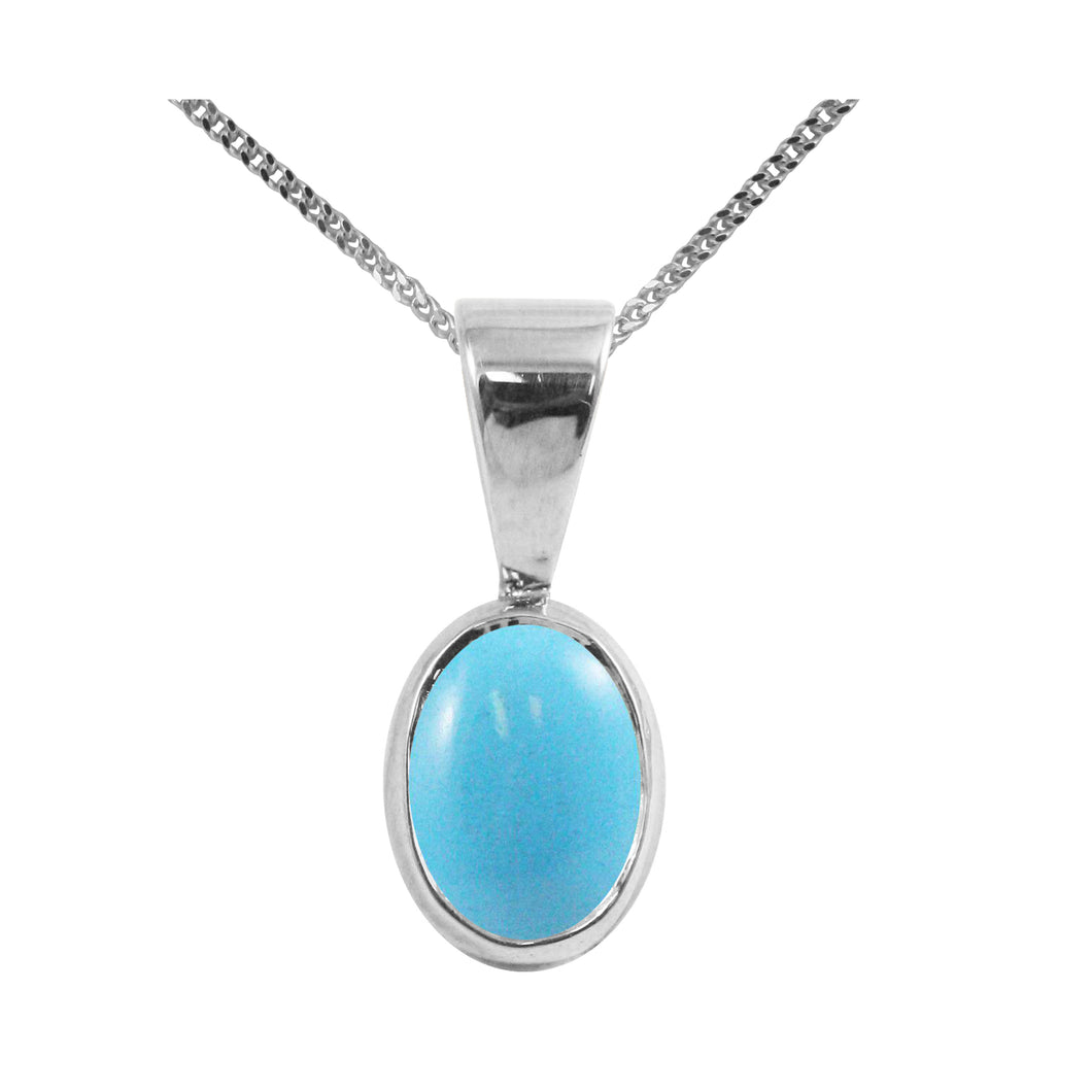BJC® Sterling Silver Natural Turquoise Single Drop Oval Pendant & Necklace