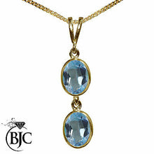 Load image into Gallery viewer, BJC® 9ct Yellow Gold Natural Blue Topaz Double Drop Oval Pendant & Necklace