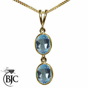 BJC® 9ct Yellow Gold Natural Blue Topaz Double Drop Oval Pendant & Necklace