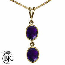 Load image into Gallery viewer, BJC® 9ct Yellow Gold Natural Amethyst Double Drop Oval Pendant & Necklace