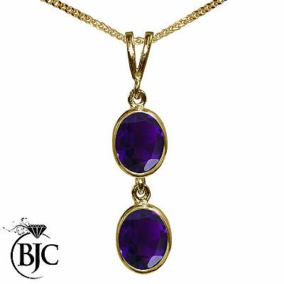 BJC® 9ct Yellow Gold Natural Amethyst Double Drop Oval Pendant & Necklace