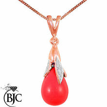 Load image into Gallery viewer, BJC® 9ct Rose Gold Blood Red Coral & Diamond Briolette Drop Pendant / Necklace