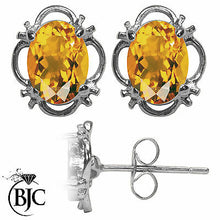 Load image into Gallery viewer, BJC® 9ct White Gold Natural Citrine Single Stud Filigree Earrings Studs 1.50ct