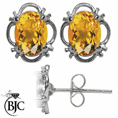 BJC® 9ct White Gold Natural Citrine Single Stud Filigree Earrings Studs 1.50ct