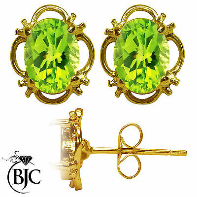 BJC® 9ct Yellow Gold Natural Peridot Single Stud Filigree Earrings Studs 1.50ct
