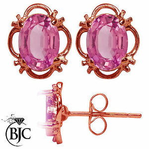 BJC® 9ct Rose Gold Natural Pink Topaz Single Stud Earrings Studs 1.50ct