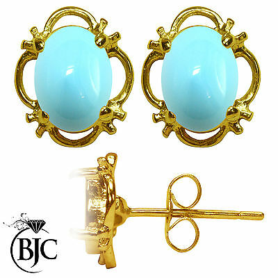 BJC® 9ct Yellow Gold Natural Turquoise Single Stud Earrings Studs 1.50ct