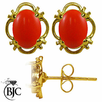 BJC® 9ct Yellow Gold Natural Peach Coral Single Stud Earrings Studs 1.50ct