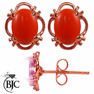 BJC® 9ct Rose Gold Natural Peach Coral Single Stud Earrings Studs 1.50ct