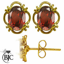 Load image into Gallery viewer, BJC® 9ct Yellow Gold Natural Garnet Single Stud Filigree Earrings Studs 1.50ct