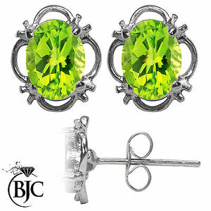 BJC® 9ct White Gold Natural Peridot Single Stud Filigree Earrings Studs 1.50ct