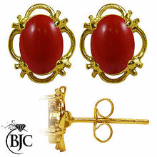 Load image into Gallery viewer, BJC® 9ct Yellow Gold Natural Red Coral Single Stud Earrings Studs 1.50ct