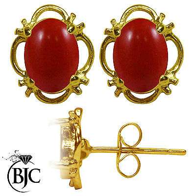 BJC® 9ct Yellow Gold Natural Red Coral Single Stud Earrings Studs 1.50ct