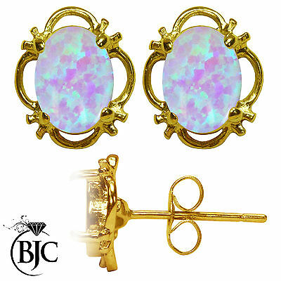 BJC® 9ct Yellow Gold Stunning Opal Single Stud Filigree Earrings Studs 1.50ct