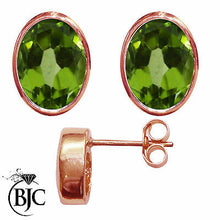 Load image into Gallery viewer, BJC® 9ct Rose Gold Natural Peridot Oval Stud Earrings 3.00ct Studs Brand New