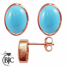 Load image into Gallery viewer, BJC® 9ct Rose Gold Natural Turquoise Oval Stud Earrings 3.00ct Studs Brand New