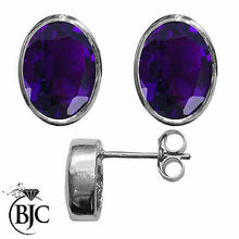 Load image into Gallery viewer, BJC® 9ct White Gold Natural Amethyst Oval Stud Earrings 3.00ct Studs Brand New