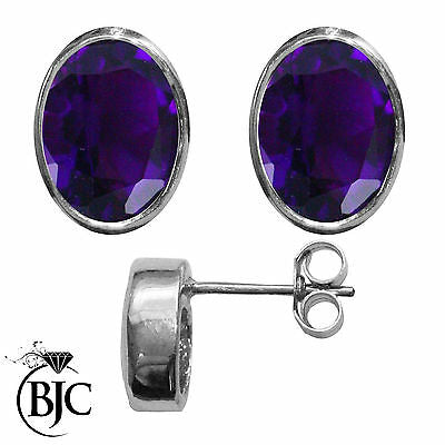 BJC® 9ct White Gold Natural Amethyst Oval Stud Earrings 3.00ct Studs Brand New