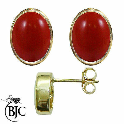 BJC® 9ct Yellow Gold Natural Red Coral Oval Stud Earrings 3.00ct Studs Brand New