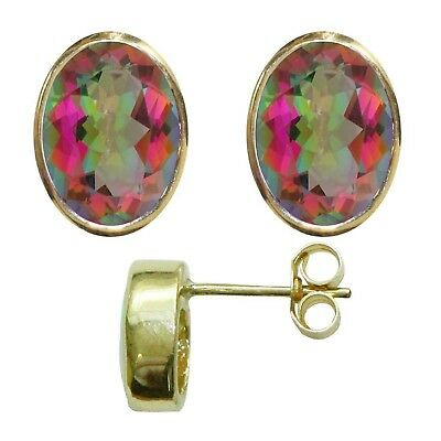 BJC® 9ct Yellow Gold Natural Mystic Topaz Oval Stud Earrings 3.00ct Studs