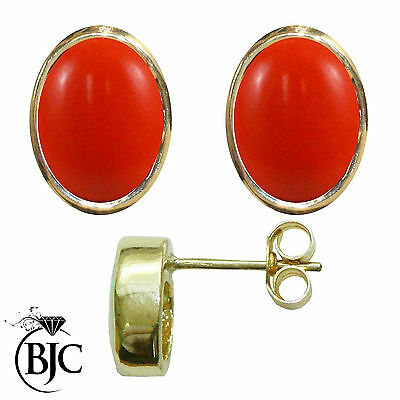 BJC® 9ct Yellow Gold Natural Peach Coral Oval Stud Earrings 3.00ct Studs