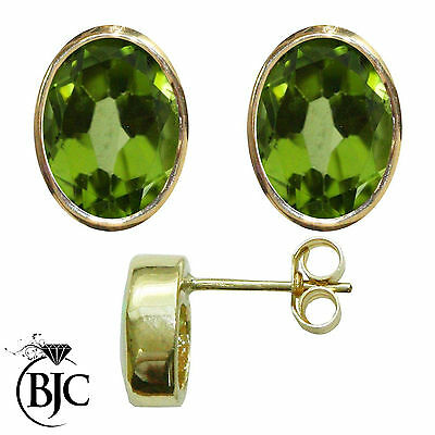 BJC® 9ct Yellow Gold Natural Peridot Oval Stud Earrings 3.00ct Studs Brand New