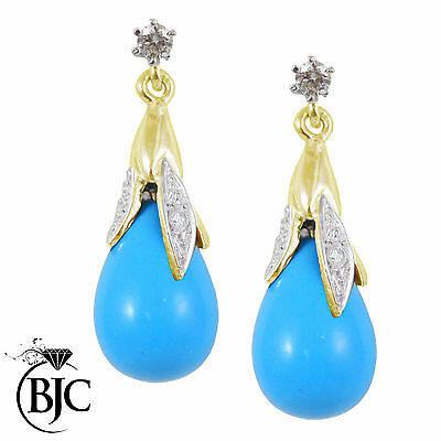 BJC® 9ct Yellow Gold Turquoise & Diamond Briolette Drop Dangling Stud Earrings