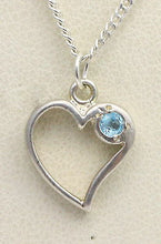 Load image into Gallery viewer, BJC® Sterling Silver Blue Topaz Heart Drop Pendant & Optional Silver Necklace