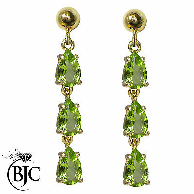 BJC® 9ct Yellow Gold Natural Peridot Triple Pear Drop Stud Earrings Studs ER66