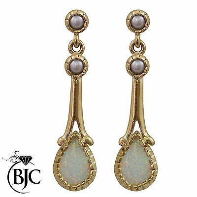 BJC® 9ct Yellow Gold Natural Opal & Pearl Teardrop Drop Stud Earrings Studs ER58