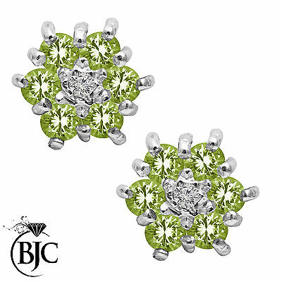 BJC® 9ct Yellow Gold Natural Peridot & Diamond Cluster Stud Earrings Studs ER2
