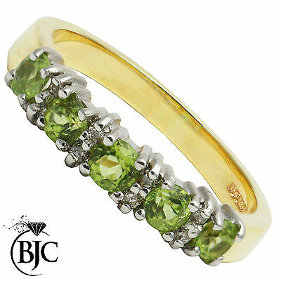 BJC® 9ct Yellow Gold Peridot & Diamond Eternity Size M Engagement Ring R144