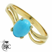 Load image into Gallery viewer, BJC® 9ct Yellow Gold Turquoise Solitaire Wave Ring Size O Engagement R163