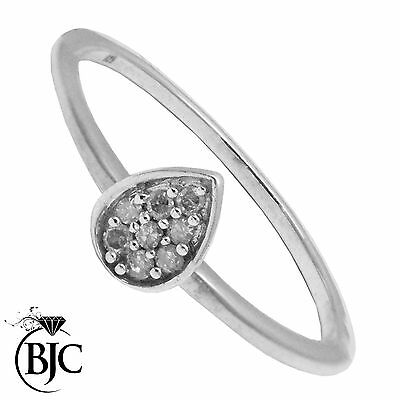 BJC® Sterling Silver Diamond Set Pear Stacker Stacking Ring Brand New Size L1/2